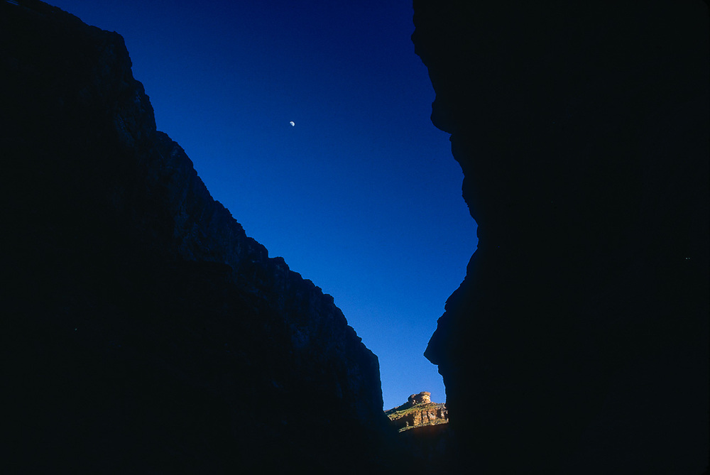 Half moon over canyon walls, inner canyon, summer, Grand Canyon, Arizona, USA