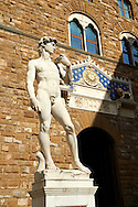 Renaissance sculpture created between 1501 and 1504, by the Italian artist Michelangelo.  In front of the Palazzo Vecchio ,  Piazza della Signoria in Florence, Italy, .<br /> <br /> Visit our ITALY PHOTO COLLECTION for more   photos of Italy to download or buy as prints https://funkystock.photoshelter.com/gallery-collection/2b-Pictures-Images-of-Italy-Photos-of-Italian-Historic-Landmark-Sites/C0000qxA2zGFjd_k<br /> .<br /> <br /> Visit our EARLY MODERN ERA HISTORICAL PLACES PHOTO COLLECTIONS for more photos to buy as wall art prints https://funkystock.photoshelter.com/gallery-collection/Modern-Era-Historic-Places-Art-Artefact-Antiquities-Picture-Images-of/C00002pOjgcLacqI