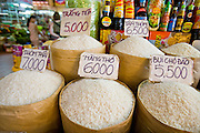 09 MARCH 2006 - HO CHI MINH CITY, VIETNAM: Different grades of rice for sale in Ben Thanh Market in Ho Chi Minh City (Saigon), Vietnam. Rice is a staple in many southeast Asian countries and as prices have skyrocketed some countries (including Vietnam) have restricted exports of rice so they can be sure of meeting their domestic needs.    PHOTO BY JACK KURTZ