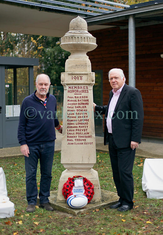 10 November 2018. Rugby Club Compiègne. Compèigne, Somme, France.<br /> Tournio Rugby de l'Armistice.<br /> A rugby tournament in the heart of the Somme region in honour of those who perished in the Great War100 years ago.<br /> <br /> L/R; Former Welsh international John Taylor and former Irish International Fergus Slattery at the Rugby Club Compiègne memorial honouring those who perished in the Great War.<br /> <br /> Photo©; Charlie Varley/varleypix.com