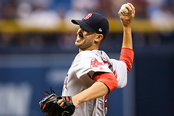 August 9, 2017 - St. Petersburg, Florida, U.S. - WILL VRAGOVIC       Times.Boston Red Sox starting pitcher Rick Porcello (22) throwing in the first inning of the game between the Boston Red Sox and the Tampa Bay Rays at Tropicana Field in St. Petersburg, Fla. on Wednesday, August 9, 2017. (Credit Image: © Will Vragovic/Tampa Bay Times via ZUMA Wire)