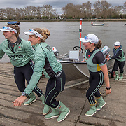 Cambridge Women , Tricia Smith, bow , Sophie Deans, 2 (front nearest camera) , Laura Foster, 3 , Larkin Sayre, 4 , Kate Horvat, 5 , Pippa Whittaker, 6 , Ida Gortz Jacobsen, 7 , Lily Lindsay, stroke , Hugh Spaughton, cox <br /> <br /> Crews prepare for Sunday's 165th Boat Race between Oxford and Cambridge, River Thames, London, Thursday 4th April 2019. © Copyright photo Steve McArthur / www.photosport.nz