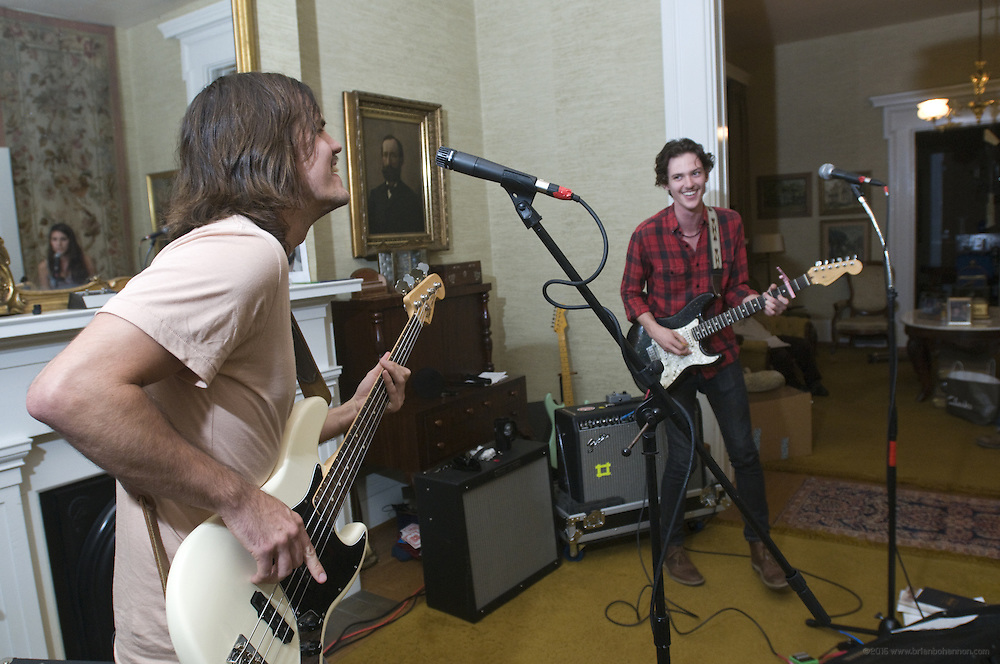 Houndmouth practices unreleased material at the Green House, Friday, Aug. 17, 2012 in New Albany, Ind.  Houndmouth is, from left: bassist Zak Appleby, guitarist Matt Myers, keyboardist Katie Toupin and drummer Shane Cody, foreground. (Photo by Brian Bohannon)