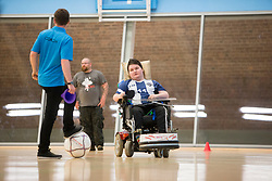 Lothian Wolves Powerchair Football Club training at the Oriam Sports complex at Heriot Watt.