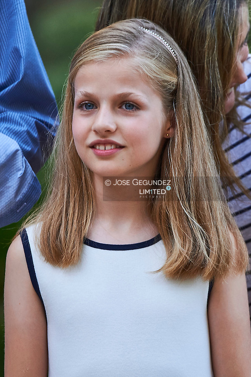 Crown Princess Leonor pose for the photographers at the Marivent Palace on August 4, 2016 in Palma de Mallorca, Spain.