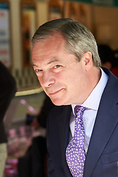 © Licensed to London News Pictures.  30/04/2015. AYLESBURY, UK. Nigel Farage, UKIP party leader, pictured during a campaign visit to Aylesbury.  Photo credit: Cliff Hide/LNP