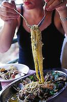 Annemiek eats seafood pasta -  Italian Riviera
