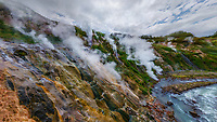 Aerial view of Valley of Geysers, Kamchatka, Russia