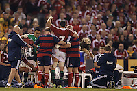 MELBOURNE, 29 JUNE 2013 - Sam WARBURTON, Captain of the Lions is helped off the pitch during the Second Test match between the Australian Wallables and the British and Irish Lions at Etihad Stadium on 29 June 2013 in Melbourne, Australia. Photo Sydney Low / Asteriskimages.com