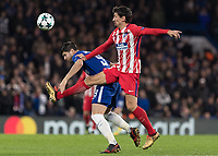 Football - 2017 / 2018 UEFA Champions League - Group C: Chelsea vs. Atletico Madrid<br /> <br /> Stefan Savic (Atletico Madrid) clatters into Alvaro Morata (Chelsea FC) in an attempt to win the ball at Stamford Bridge.<br /> <br /> COLORSPORT/DANIEL BEARHAM