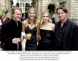Left to right, MR JOE BAMFORD, MISS PETRINA KHASHOGGI, MISS MARISSA SACKLER and MR GEORGE BAMFORD, at a party in London on 18th June 2001.OPM 161