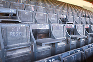 A view of the old-style wooden seats at Oakwell before the EFL Sky Bet League 1 match between Barnsley and Coventry City at Oakwell, Barnsley, England on 30 March 2019.