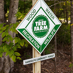 Tree farm sign in the Randolph Community Forest. New Hampshire's White Mountains.