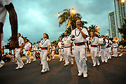 Royal Hawaiian Band marching in Waikiki, Hawaii. The band is the oldest and only full-time municipal band in the United States, and the only one established by a Royal family. It was formed in 1836 by Hawaiian King Kamehameha III.
