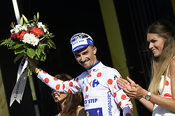 July 17, 2018 - Le Grand Bornand, FRANCE - French Julian Alaphilippe of Quick-Step Floors wearing the polka-dot jersey for the best climber celebrates on the podium after the tenth stage in the 105th edition of the Tour de France cycling race, 112.5 km from Annecy to Le Grand Bornand, France, Tuesday 17 July 2018. This year's Tour de France takes place from July 7th to July 29th...BELGA PHOTO YORICK JANSENS (Credit Image: © Yorick Jansens/Belga via ZUMA Press)