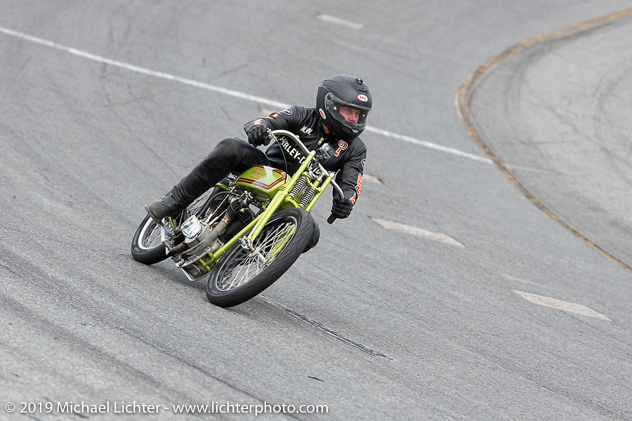 Carey Maynell riding his Harley-Davidson racer in the Sons of Speed Vintage Motorcycle Races at New Smyrina Speedway. New Smyrna Beach, USA. Saturday, March 9, 2019. Photography ©2019 Michael Lichter.