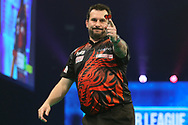 Jonny Clayton celebrates reading the Finals Night during the PDC Unibet Premier League darts at Marshall Arena, Milton Keynes, United Kingdom on 27 May 2021.
