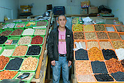 Colourful variety of fruits at market stand, Almaty, Kazakhstan