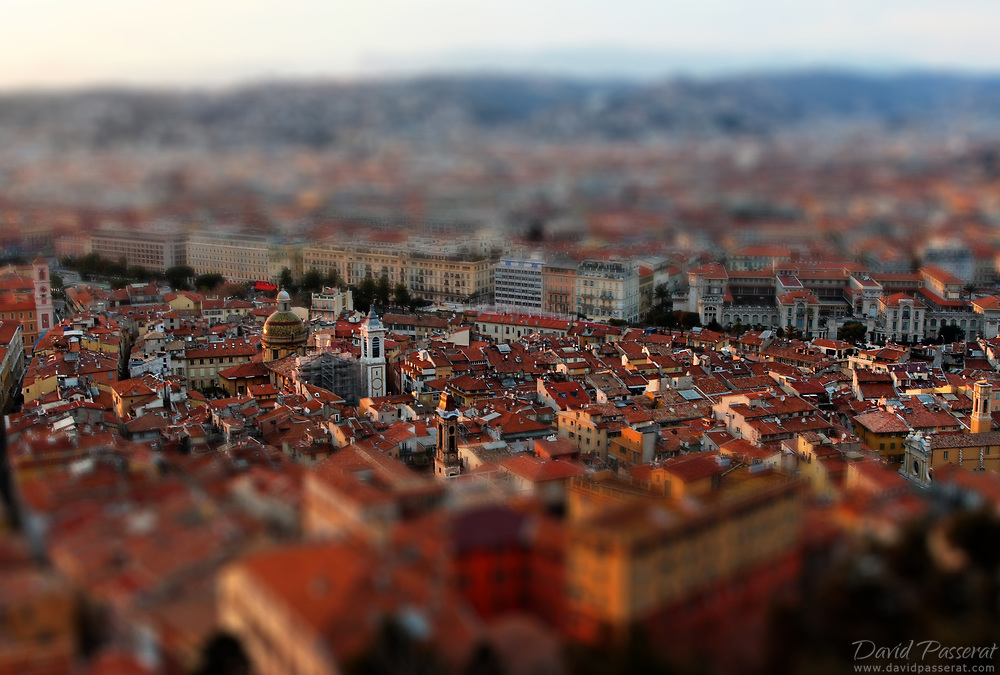 Overview of city of Nice, with tilt shift process.