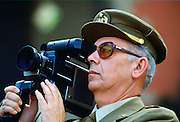 Army officer filming in Seville, Spain