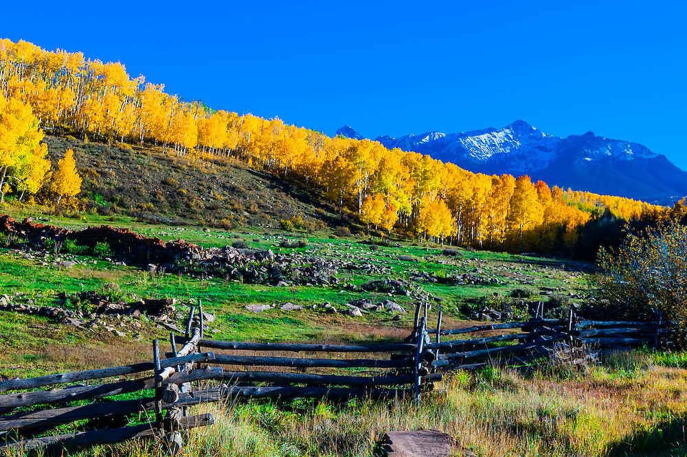 Fence line on Last Dollar Road between Ridgway and Telluride, Colorado USA.