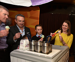 Pictured: Jo Swinson tries her hand at serving ice cream at the rally.<br /> <br /> Liberal Democrat leader Jo Swinson held a campaign rally in central Edinburgh, where she talked about the party's opposition to independence.<br /> <br /> © Dave Johnston / EEm
