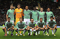 Football - Champions League - Celtic vs.Celtic vs. Benfica<br /> <br /> Celtic team group, back row L to R Charlie Mulgrew, Fraser Forster, Kelvin Wilson, Victor Wamyama, James Forrest and Emilio Izaguirre, front row Mikael Lustig, Kris Commons,Scott Brown, Adam Mathews and Nicolas Fedor during the Celtic vs. Benfica  Champions League Group G match at Celtic Park on September 19th 2012.<br />  <br /> Colorsport