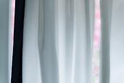 Bedroom curtain, October, vacation house, Cheshire County, Jaffery, New Hampshire, USA
