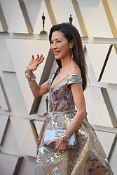 February 24, 2019 - Los Angeles, California, U.S -  'Crazy Rich Asians' actress MICHELLE YEOH, wearing Elie Saab, during red carpet arrivals for the 91st Academy Awards, presented by the Academy of Motion Picture Arts and Sciences (AMPAS), at the Dolby Theatre in Hollywood. (Credit Image: © Kevin Sullivan via ZUMA Wire)