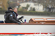 Putney, London, OUWBC at the start of the race - Pre Boat Race Fixture, Oxford University Women's Boat Club {OUWBC} vs Molesey Boat Club, over the River Thames, Championship Course Putney to Mortlake Sunday  22/02/2015  [Mandatory Credit; Peter Spurrier/Intersport-images]
