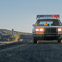 An Inyo County (California) sherrif's deputy responds to a call for assistance.