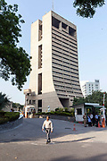 A man walks out from he NDMC building, New Delhi, India