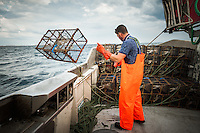 Fisherman Martin Olofsson casts fish traps into the North Sea to catch crayfish and langoustines.