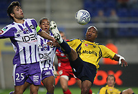 Fotball<br /> Frankrike<br /> Foto: Dppi/Digitalsport<br /> NORWAY ONLY<br /> <br /> FOOTBALL - FRENCH CHAMPIONSHIP 2007/2008 - L1 - FC SOCHAUX v TOULOUSE FC - 07/10/2007 - FABRICE PANCRATE (SO) / NICOLAS DIEUZE (TOU)