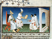 Marco Polo (1254-1324) Venetian traveller and merchant. 'Book of Marvels ...' early 15th century manuscript illustrated by Masters Boucicaut and Bedford. Kublai Khan (1214-1294) presents his emissaries, the Polos, with the golden tablet which is their passport.