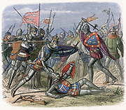 Hundred Years War between England and France (1337-1453) Battle of Crecy, August 1346. Edward III and his son Edward, the Black Prince, led 36,800 men to victory over Philip of France and his army of 130,000. Here the Black Prince comes to his father's rescue. Colour-printed wood engraving, 1864 .