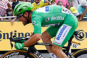 Chateauroux, France - July 01 : CAVENDISH Mark (GBR) of DECEUNINCK - QUICK-STEP sprinting to victory during stage 6 of the 108th edition of the 2021 Tour de France cycling race, a stage of 160,6 kms between Tours and Chateauroux on July 1, 2021 in Chateauroux, France, 01/07/2021