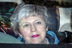 © Licensed to London News Pictures. 29/03/2019. London, UK. British Prime Minister THERESA MAY is seen leaving Parliament after MPs rejected her withdrawal agreement. Photo credit: Ben Cawthra/LNP