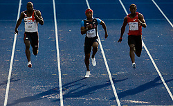 (FromL) Great Britains' Tyrone Edgar, US Michael Rodgers and Zambia's Gerald Phiri compete in the men's 100m round 2 heat 2 race of the 2009 IAAF Athletics World Championships on August 15, 2009 in Berlin, Germany. (Photo by Vid Ponikvar / Sportida)