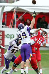 03 October 2015:  Adam Reth(99) extends trying to block a pass by Jake Kolbe(16). NCAA FCS Football between Northern Iowa Panthers and Illinois State Redbirds at Hancock Stadium in Normal IL (Photo by Alan Look)