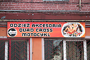 Ad for Motocross motorcycles and ATMs with clothing and accessories at Quady-Import.com. Tomaszow Mazowiecki Central Poland