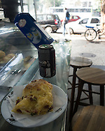 A savoury bread, cheese and bacon thing, and a Coke Zero for breakfast on my first morning in Rio. It was excellent! Photo by Andrew Tobin/Tobinators Ltd