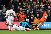 Blackpool's Christoffer Mafoumbi makes a save to deny Luton Town's George Moncur<br /> <br /> Photographer David Shipman/CameraSport<br /> <br /> The EFL Sky Bet League One - Luton Town v Blackpool - Saturday 6th April 2019 - Kenilworth Road - Luton<br /> <br /> World Copyright © 2019 CameraSport. All rights reserved. 43 Linden Ave. Countesthorpe. Leicester. England. LE8 5PG - Tel: +44 (0) 116 277 4147 - admin@camerasport.com - www.camerasport.com