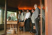 """16 JUL 1999 - ROEHNDORF, GERMANY:<br /> Gerhard Schröder, Bundeskanzler, im Rahmen einer Besichtigung von Konrad Adenauers Wohnhaus im Pavillion, während der SPD Radtour """"Abschied vom Rhein""""<br /> Gerhard Schroeder, Fed. Chancellor Germany, visiting the house of Konrad Adenauer  during a trip with a part of the SPD parliamentary group to a """"Goodbye from Rhine""""  Tour<br /> IMAGE: 19990716-01/04-20"""