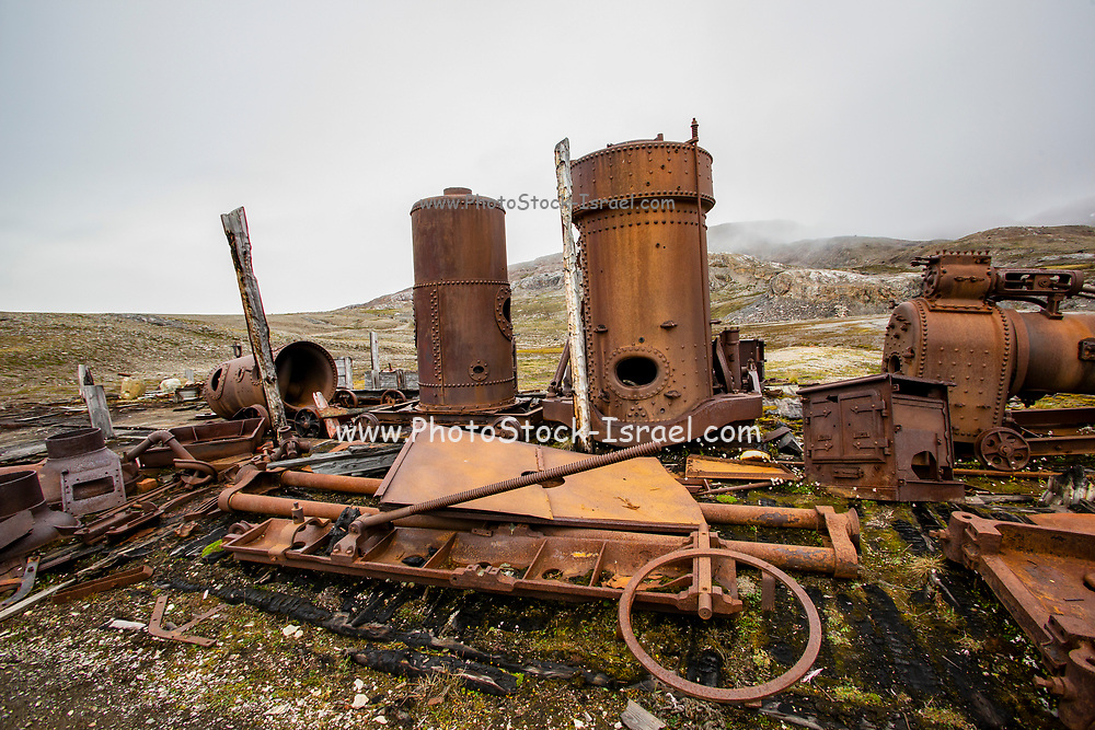 Rusty remains at Mansfield Camp, Spitsbergen, Svalbard, Norway.