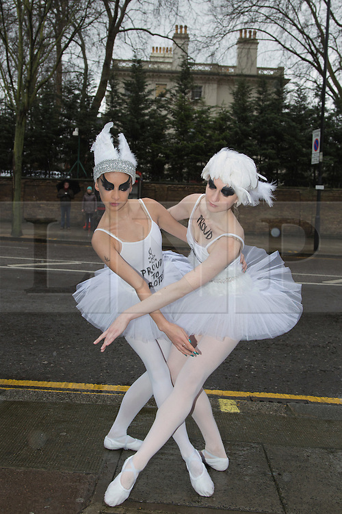 © Licensed to London News Pictures. 29/01/2014. London, England. Four ballet dancers from London posed for photographers outside the Russian Embassy in Notting Hill Gate for Amnesty International. This protest was organised one week before the start of the Olympic Games in Sochi to demand an end to President Putin's crackdown on human rights/gay rights in Russia. AI also delivered a petition ofnover 10,000 signatures from the British public to the Russian Emabssy. Photo credit: Bettina Strenske/LNP