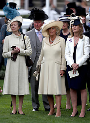 Anne, Princess Royal (left), Prince of Wales, Prince Charles and Camilla the Duchess of Cornwall watch the Wolferton Stakes during day one of Royal Ascot at Ascot Racecourse.
