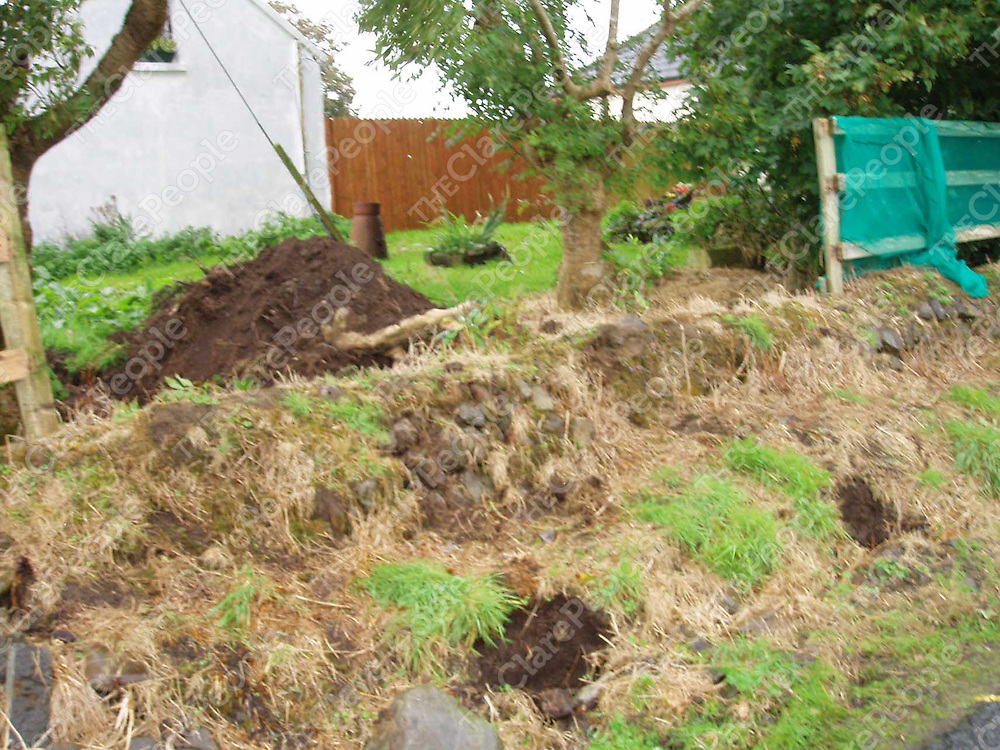 A trench in the garden of the home of Tony Killeen dug by Clare County Council in Shragh Kilrush Co.Clare.<br /> Copy pix by Press 22