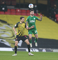 Watford's Craig Cathcart and Preston North End's Sean Maguire<br /> <br /> Photographer Rob Newell/CameraSport<br /> <br /> The EFL Sky Bet Championship - Watford v Preston North End - Saturday 28th November 2020 - Vicarage Road - Watford<br /> <br /> World Copyright © 2020 CameraSport. All rights reserved. 43 Linden Ave. Countesthorpe. Leicester. England. LE8 5PG - Tel: +44 (0) 116 277 4147 - admin@camerasport.com - www.camerasport.com