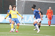 Brighton & Hove Albion forward Lee Geum-Min (9) passes the ball ahead of Everton forward Valerie Gauvin (19) during the FA Women's Super League match between Everton Women and Brighton and Hove Albion Women at the Select Security Stadium, Halton, United Kingdom on 18 October 2020.